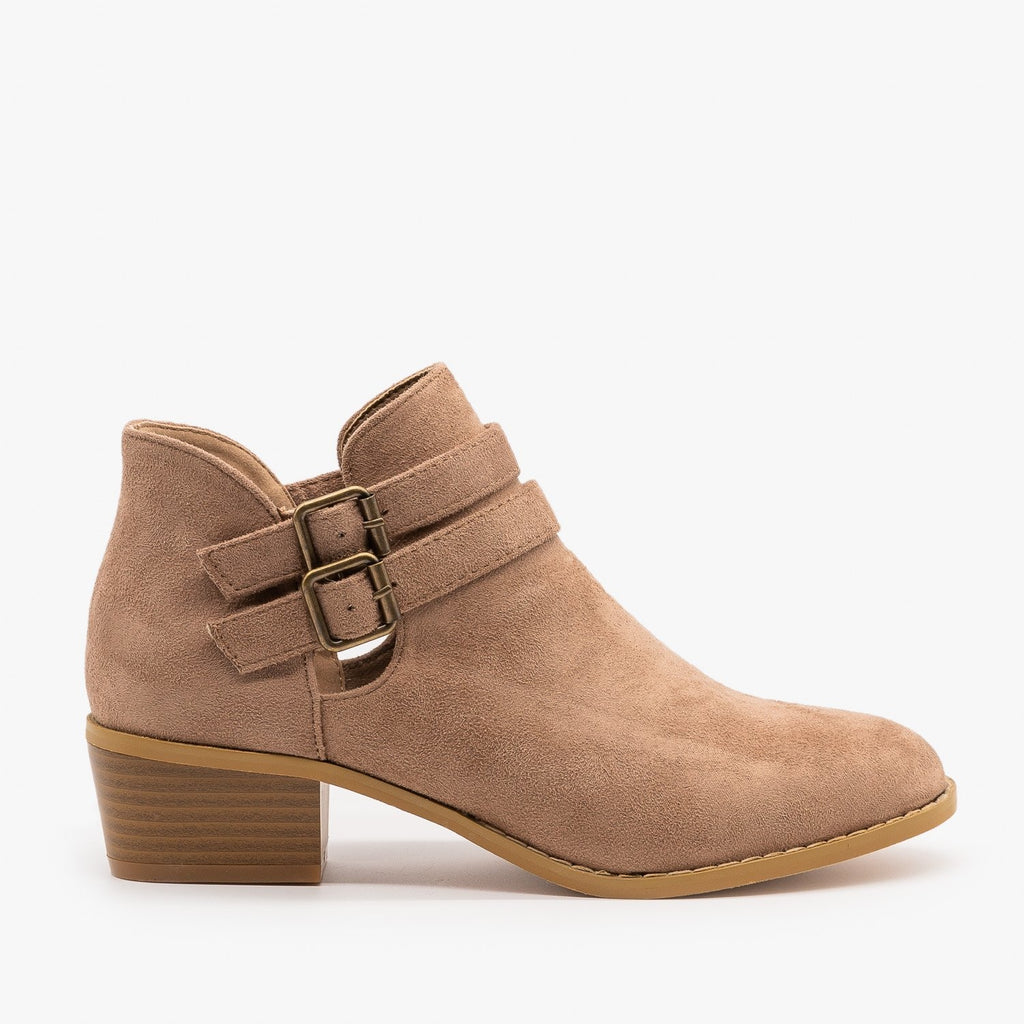 Womens Double Buckle Fall Booties - Soho Elite - Taupe / 5