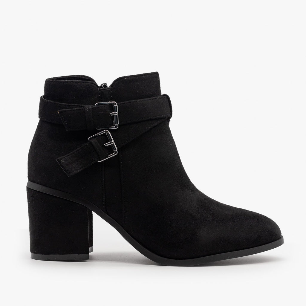Womens Double Buckle Faux Suede Ankle Booties - Refresh - Black / 5