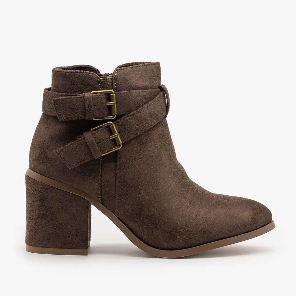 Womens Double Buckle Faux Suede Ankle Booties - Refresh - Mocha / 5