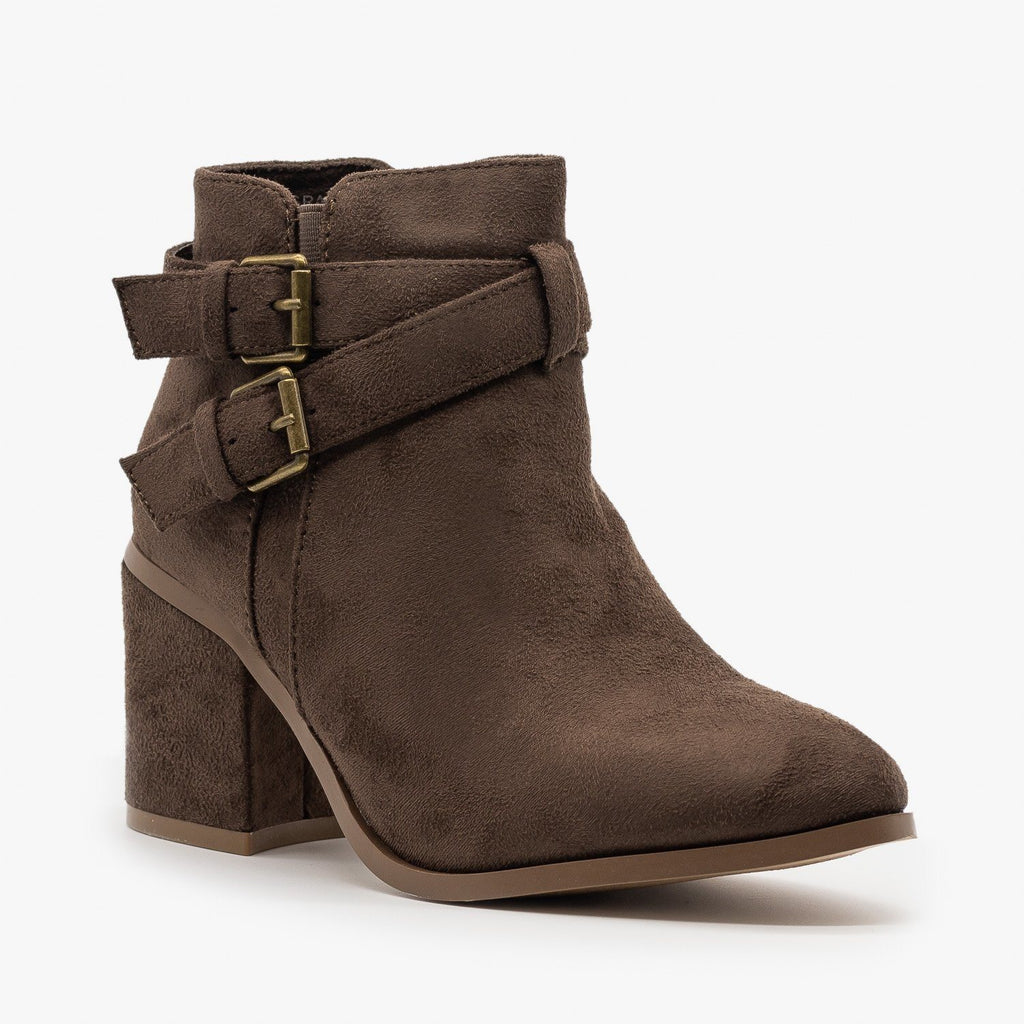 Womens Double Buckle Faux Suede Ankle Booties - Refresh