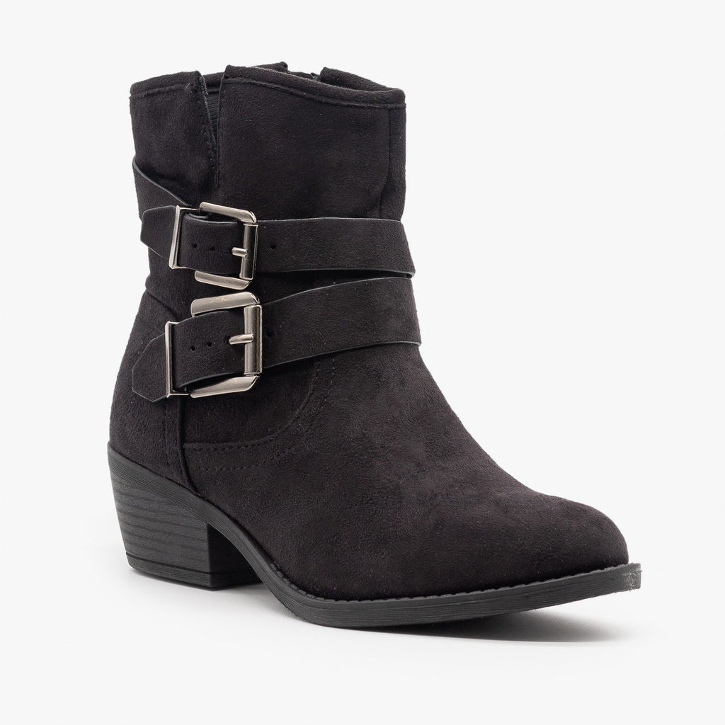 Womens Double Buckle Faux Suede Booties - Soda Shoes