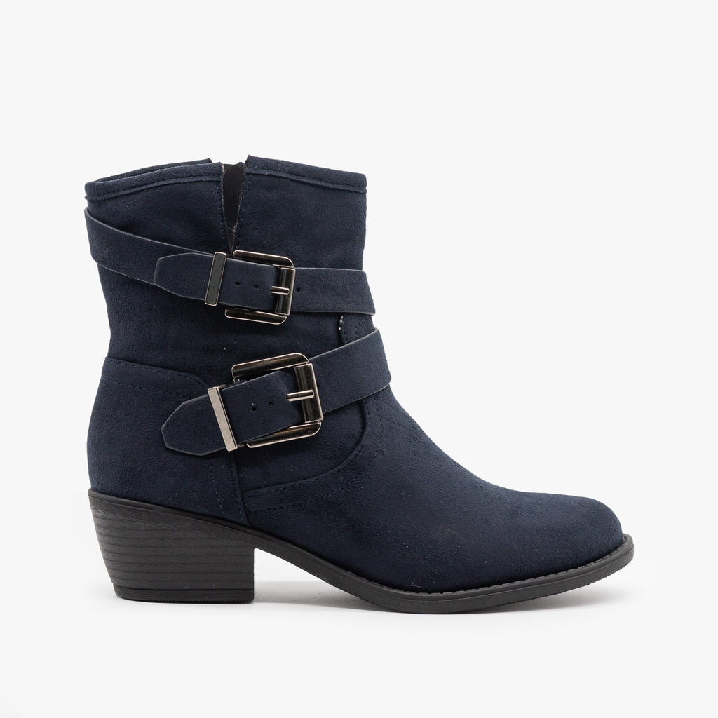 Womens Double Buckle Faux Suede Booties - Soda Shoes - Dark Navy / 5