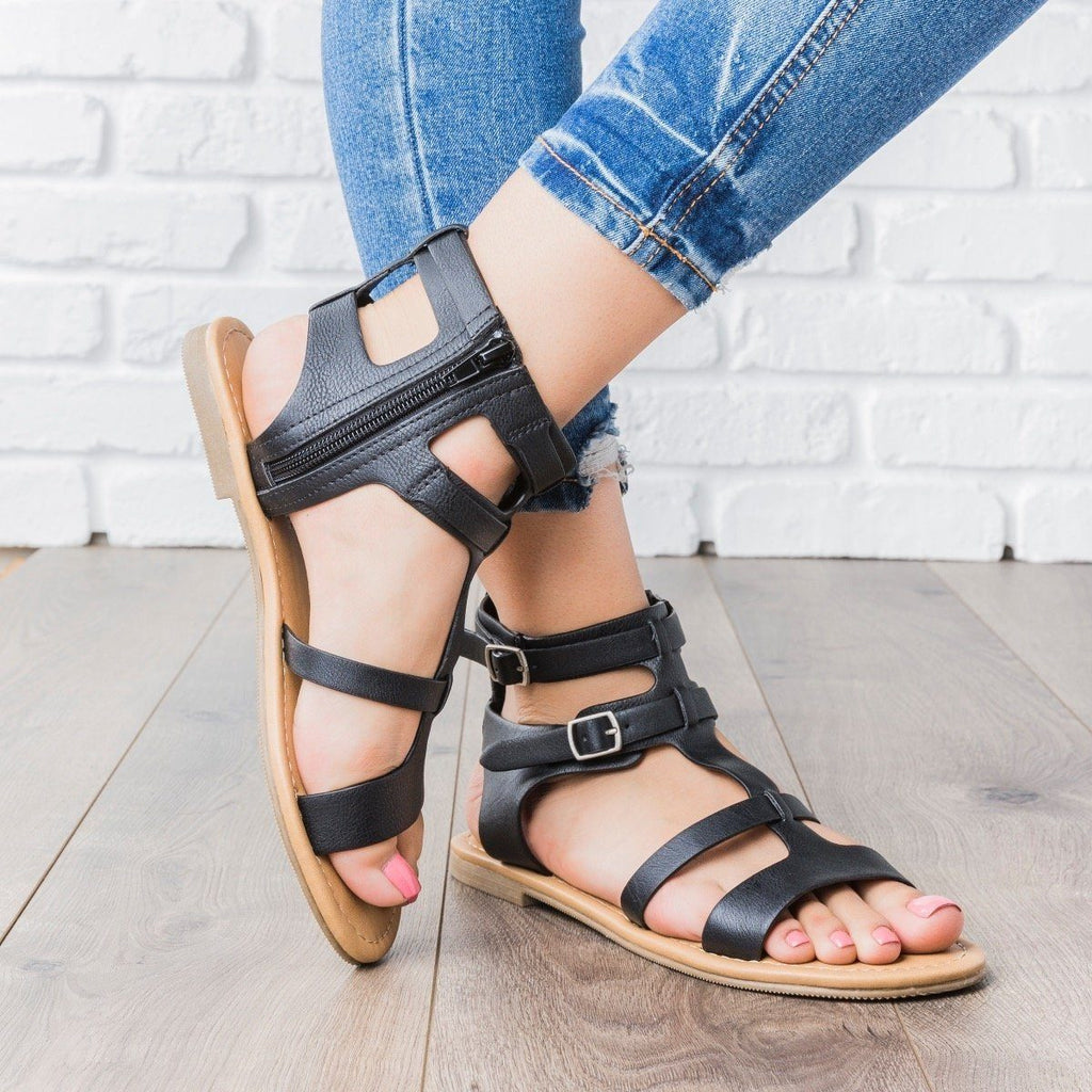 Womens Double Buckle Gladiator Sandals - City Classified Shoes