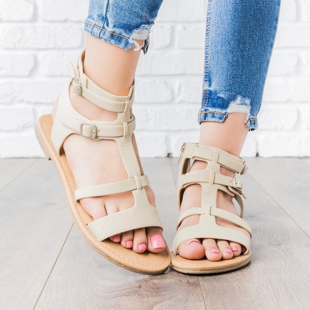 Womens Double Buckle Gladiator Sandals - City Classified Shoes - Light Gold / 8.5
