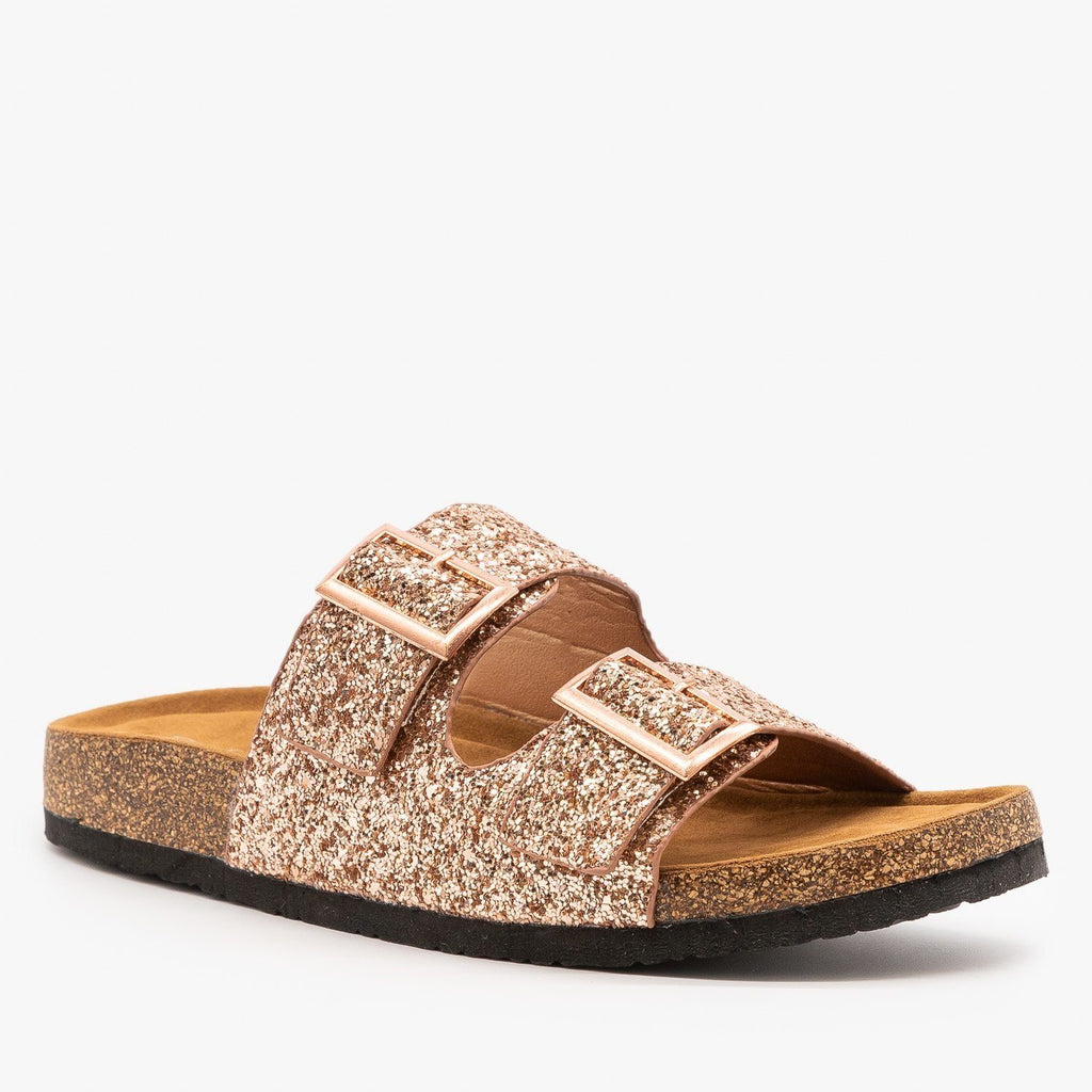 Womens Double Buckle Glitter Slides - Refresh