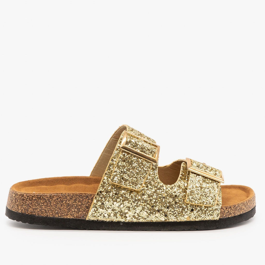 Womens Double Buckle Glitter Slides - Refresh - Champage / 5