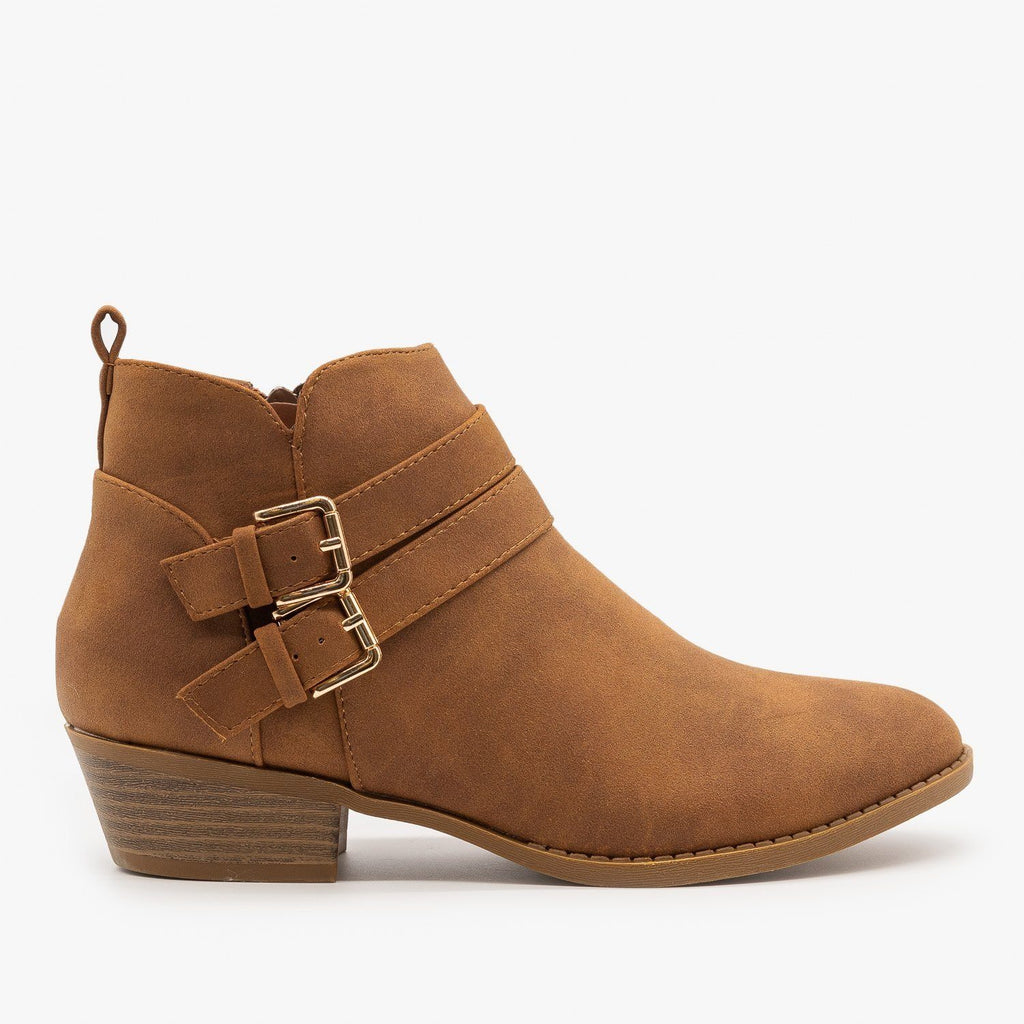 Womens Double Buckle Low Ankle Booties - Top Moda - Tan / 5