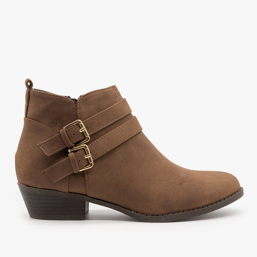 Womens Double Buckle Low Ankle Booties - Top Moda - Brown / 5