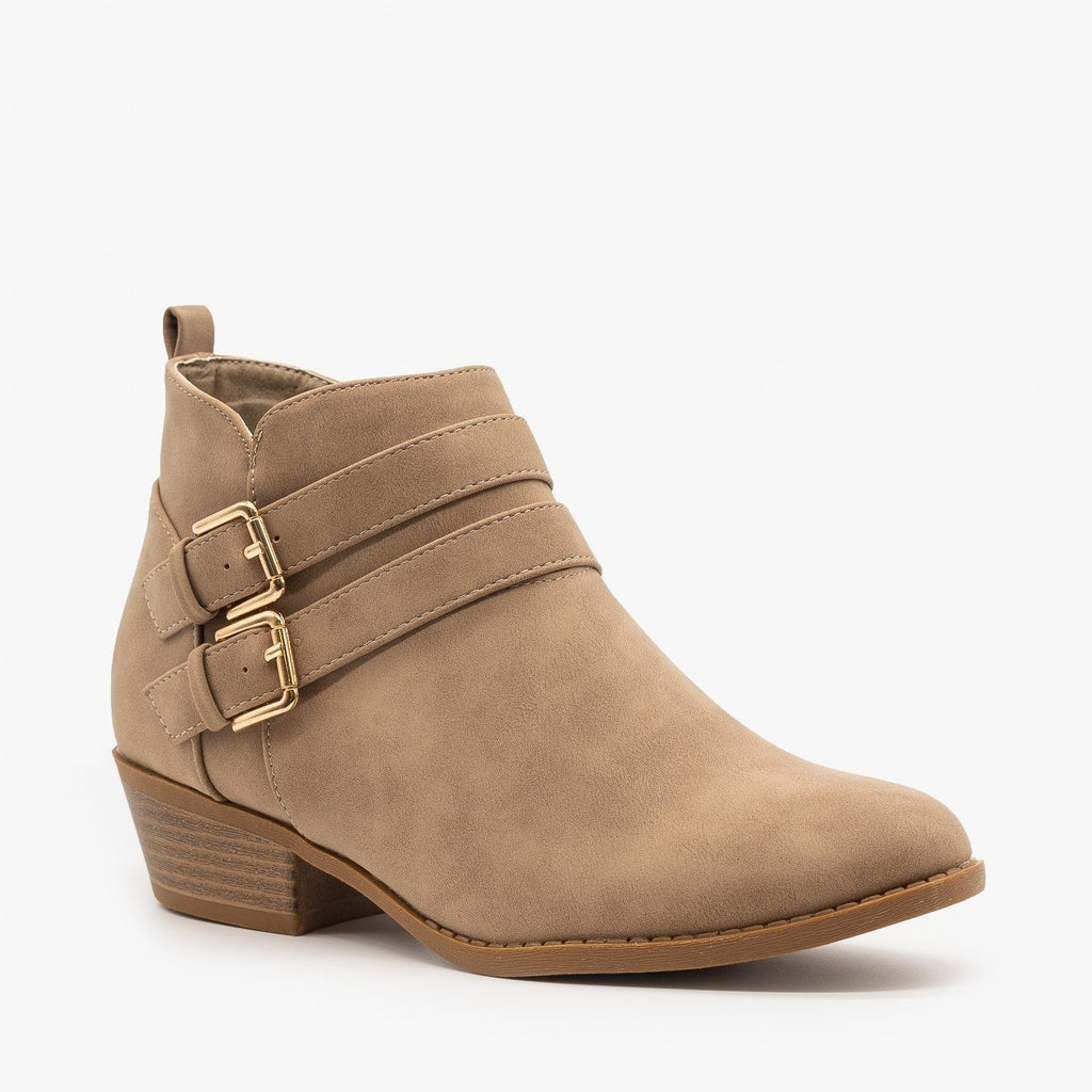 Womens Double Buckle Low Ankle Booties - Top Moda