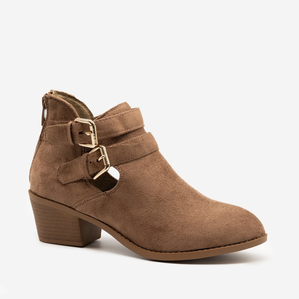 Women's Double Buckle Low Booties - Forever - Taupe / 5