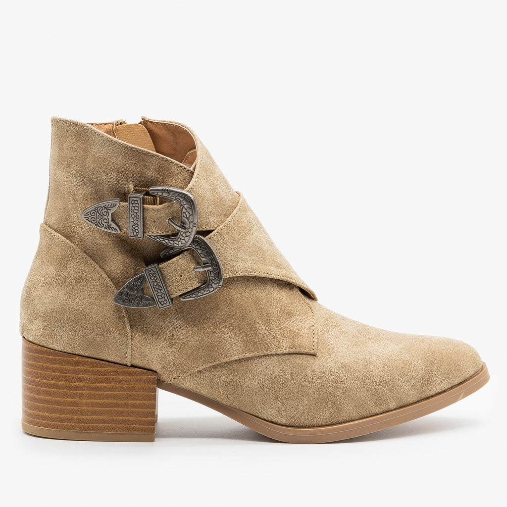 Womens Double Buckle Southwest Booties - Qupid Shoes - Oatmeal / 5