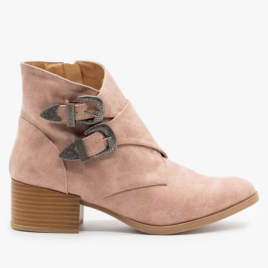 Womens Double Buckle Southwest Booties - Qupid Shoes - Blush / 5