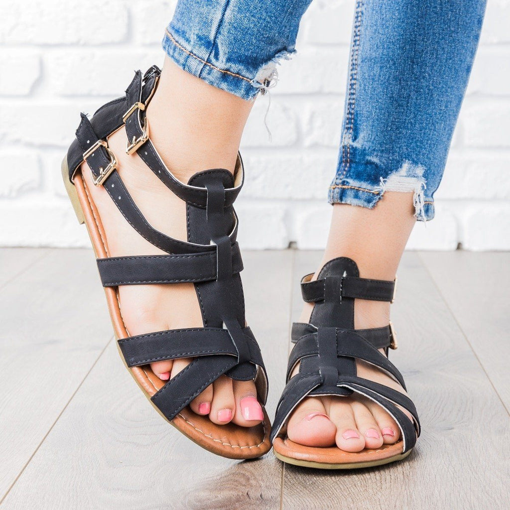 Womens Double Buckle Strappy Sandals - Blue Berry Shoes - Black / 5.5