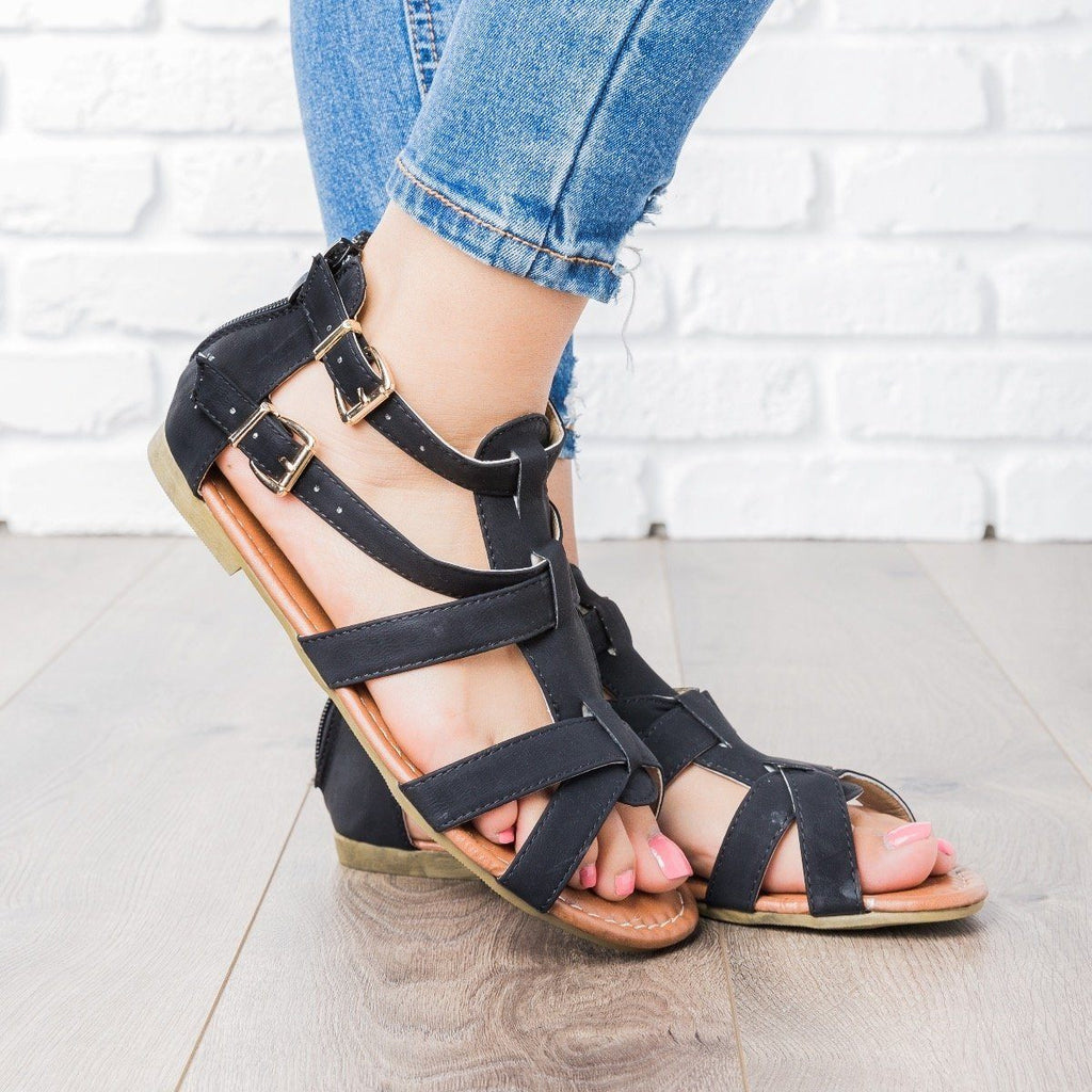 Womens Double Buckle Strappy Sandals - Blue Berry Shoes