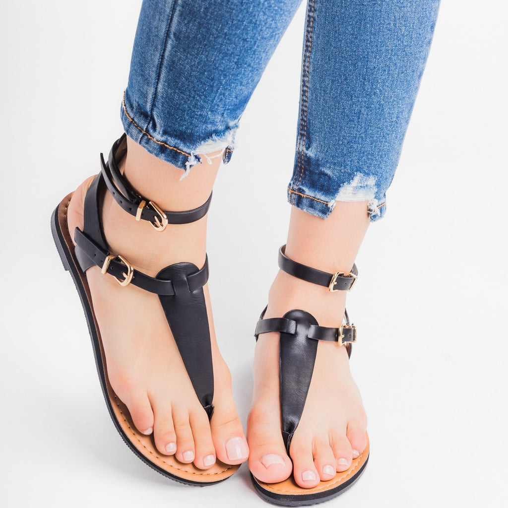 Womens Double Buckle Thong Sandals - Soda Shoes - Black / 5