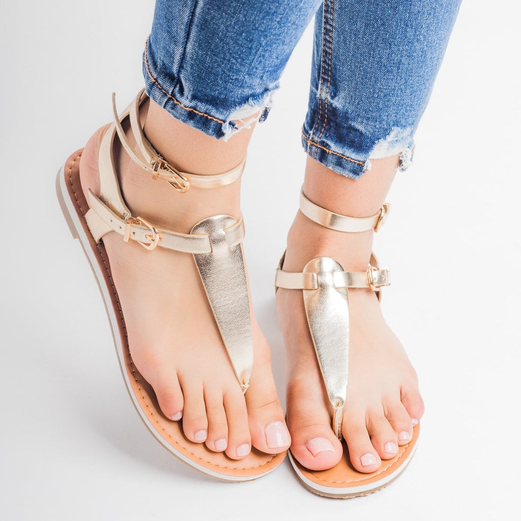 Womens Double Buckle Thong Sandals - Soda Shoes - Light Gold / 5