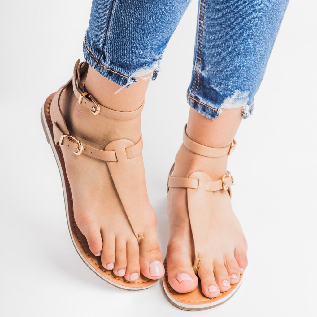 Womens Double Buckle Thong Sandals - Soda Shoes - Taupe / 5