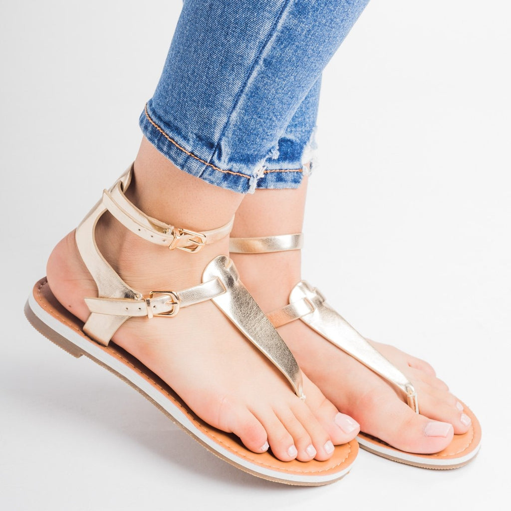 Womens Double Buckle Thong Sandals - Soda Shoes