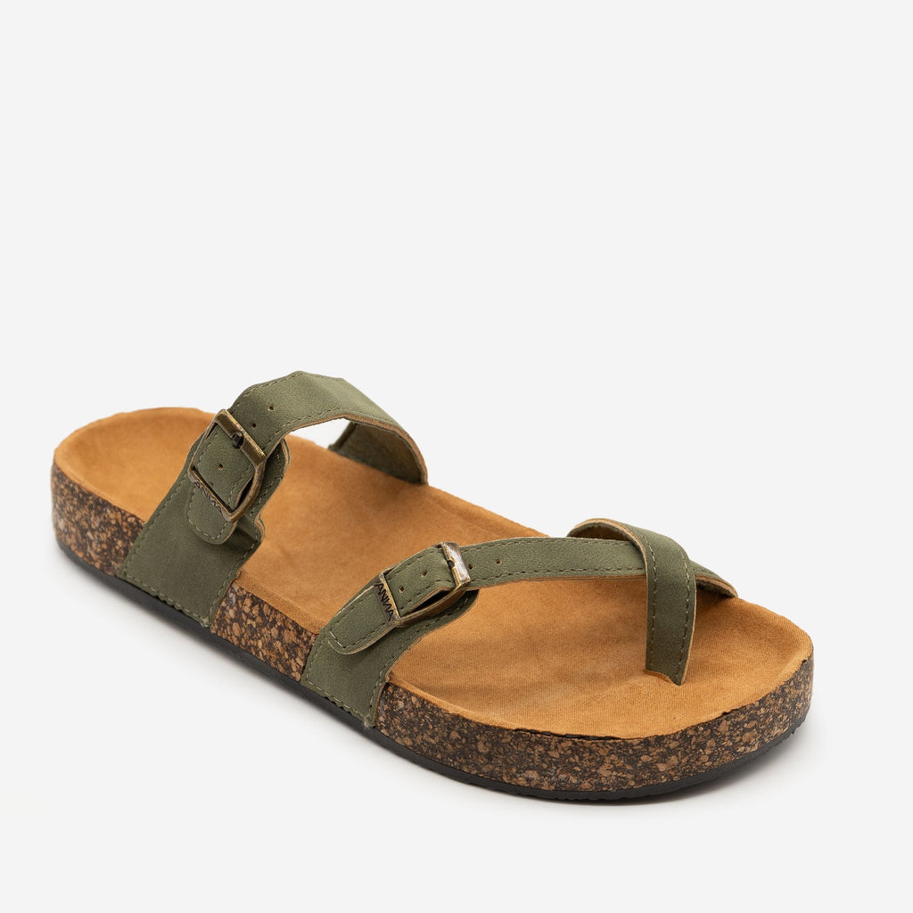 Women's Double Buckle Toe Hold Fashion Sandals - Anna Shoes - Olive / 5