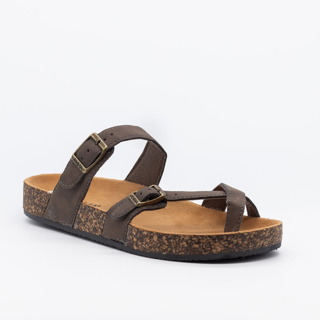 Womens Double Buckle Toe Hold Fashion Sandals - Anna Shoes - Brown / 5
