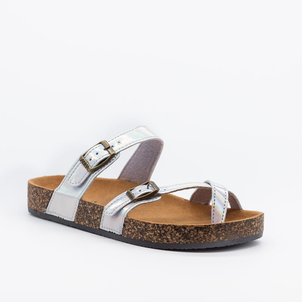 Womens Double Buckle Toe Hold Fashion Sandals - Anna Shoes - Silver Hologram / 5