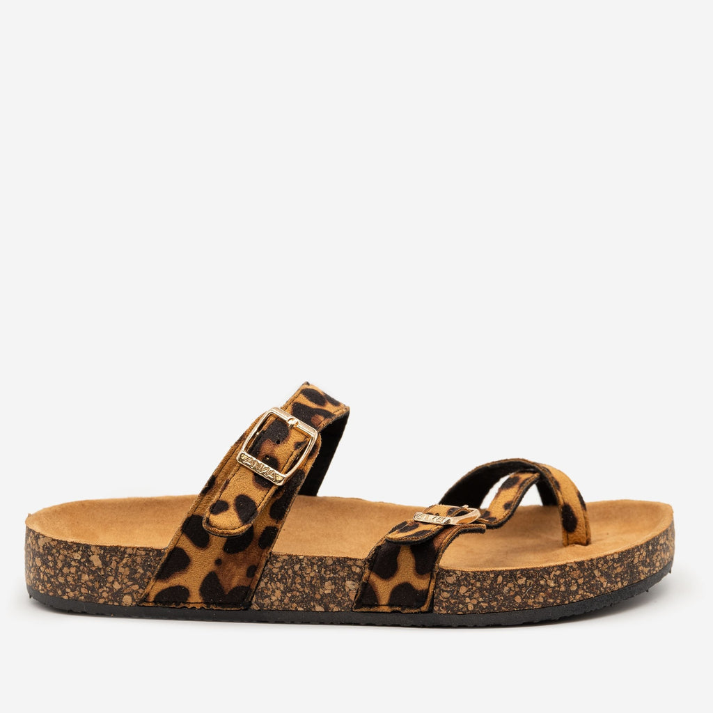 Women's Double Buckle Toe Hold Fashion Sandals - Anna Shoes - Leopard / 5