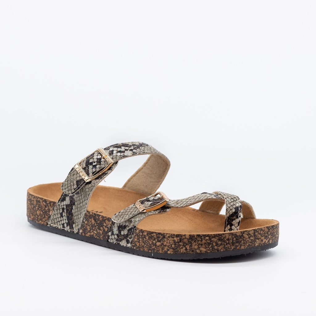 Womens Double Buckle Toe Hold Fashion Sandals - Anna Shoes - Python / 5