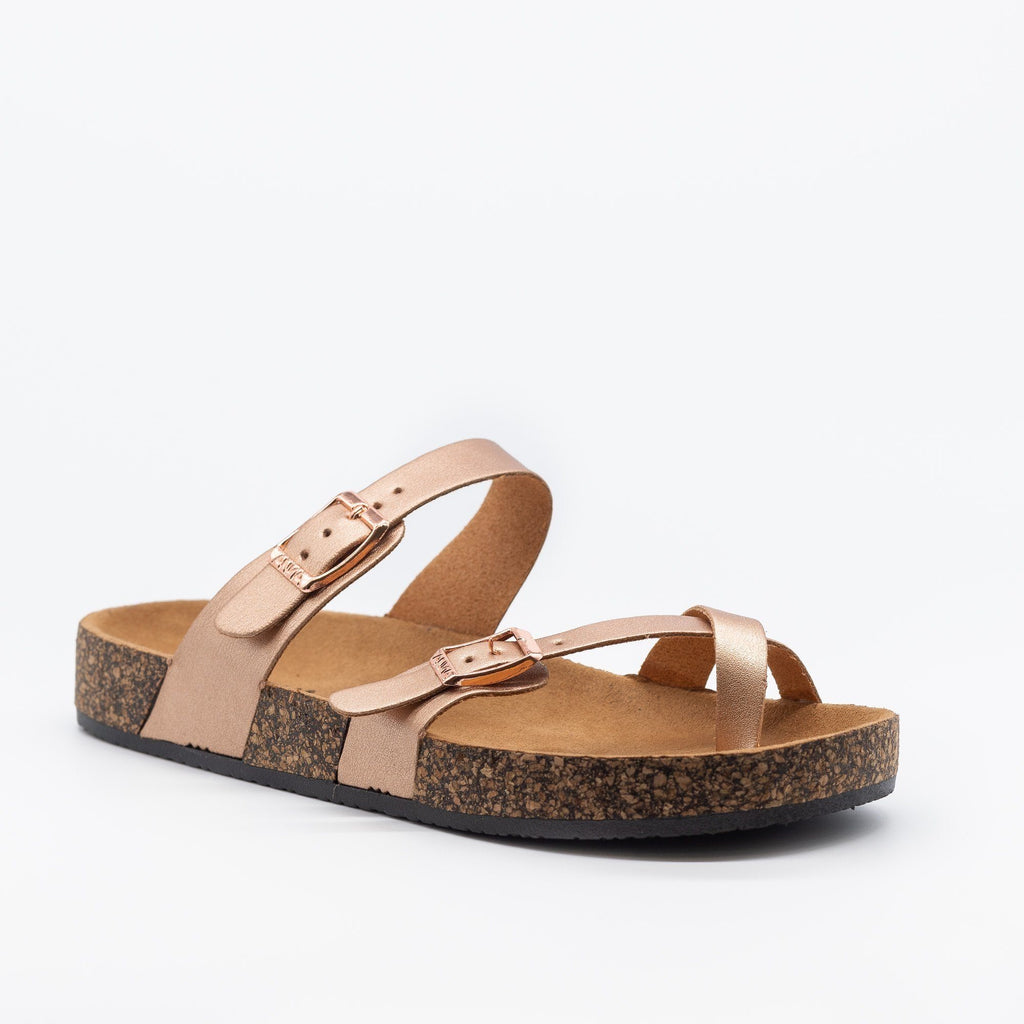 Womens Double Buckle Toe Hold Fashion Sandals - Anna Shoes - Rose Gold / 5
