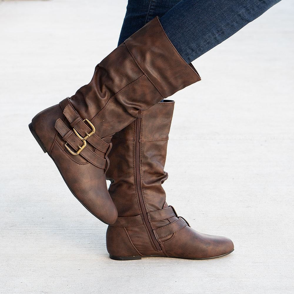 Women's Double Buckled Crinkle Boots - Forever