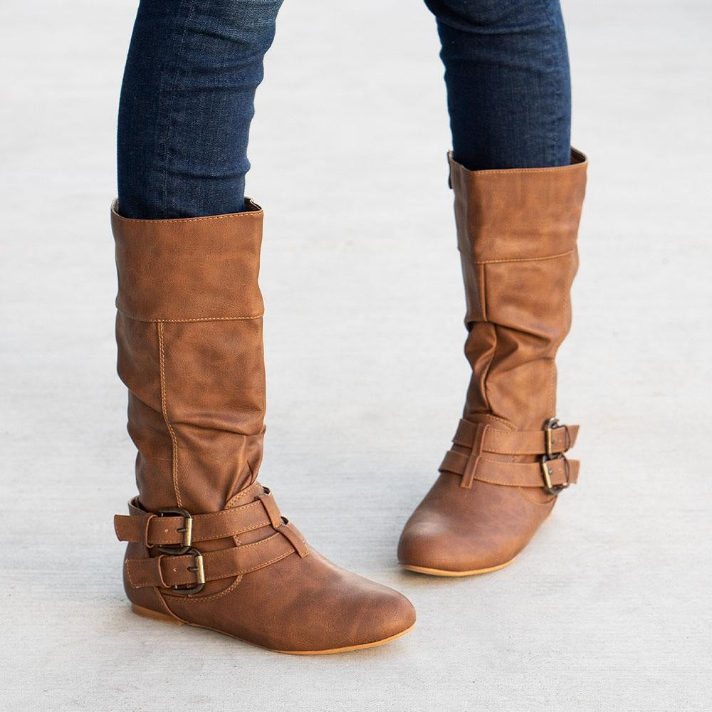 Women's Double Buckled Crinkle Boots - Forever - Tan / 5