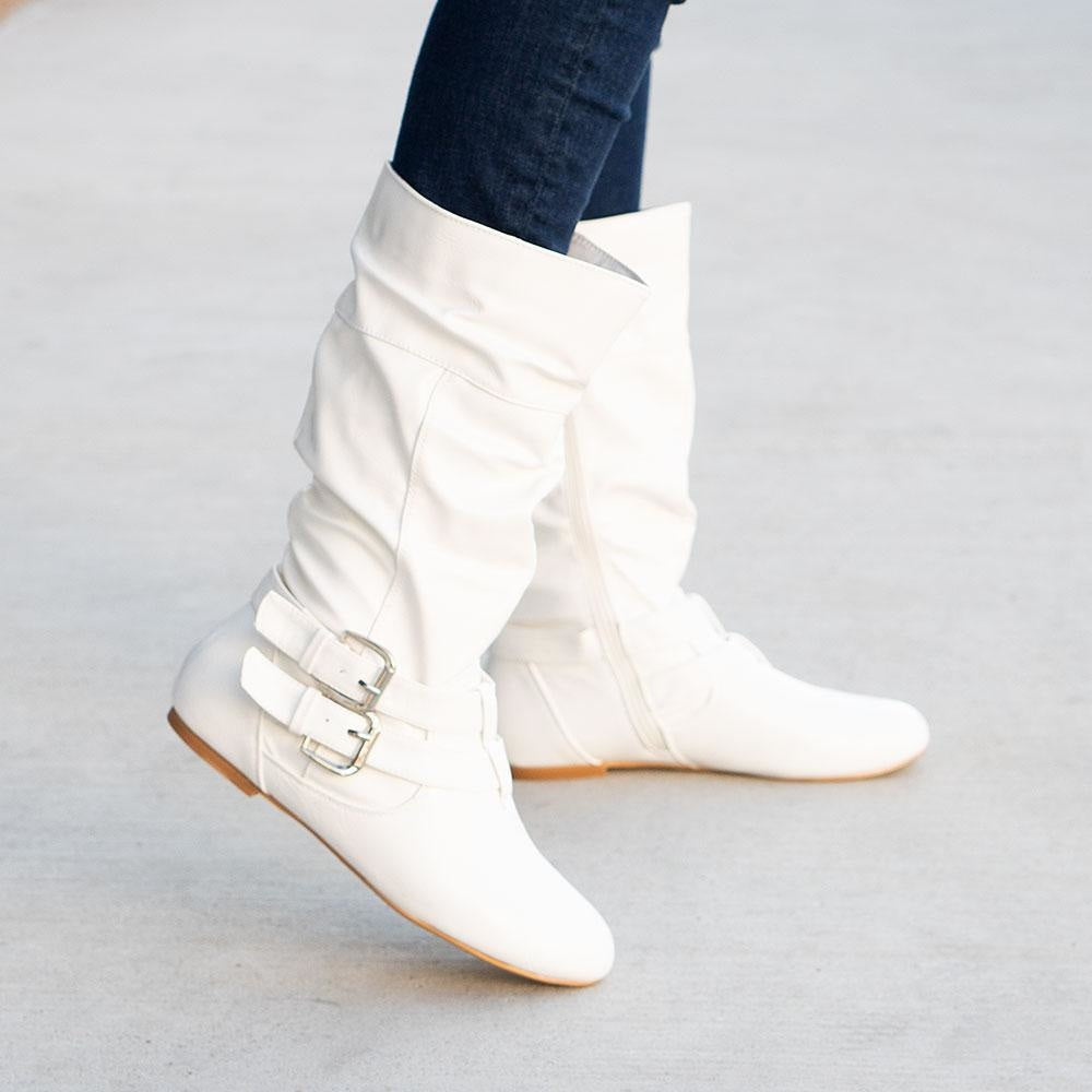 Women's Double Buckled Crinkle Boots - Forever - White / 5