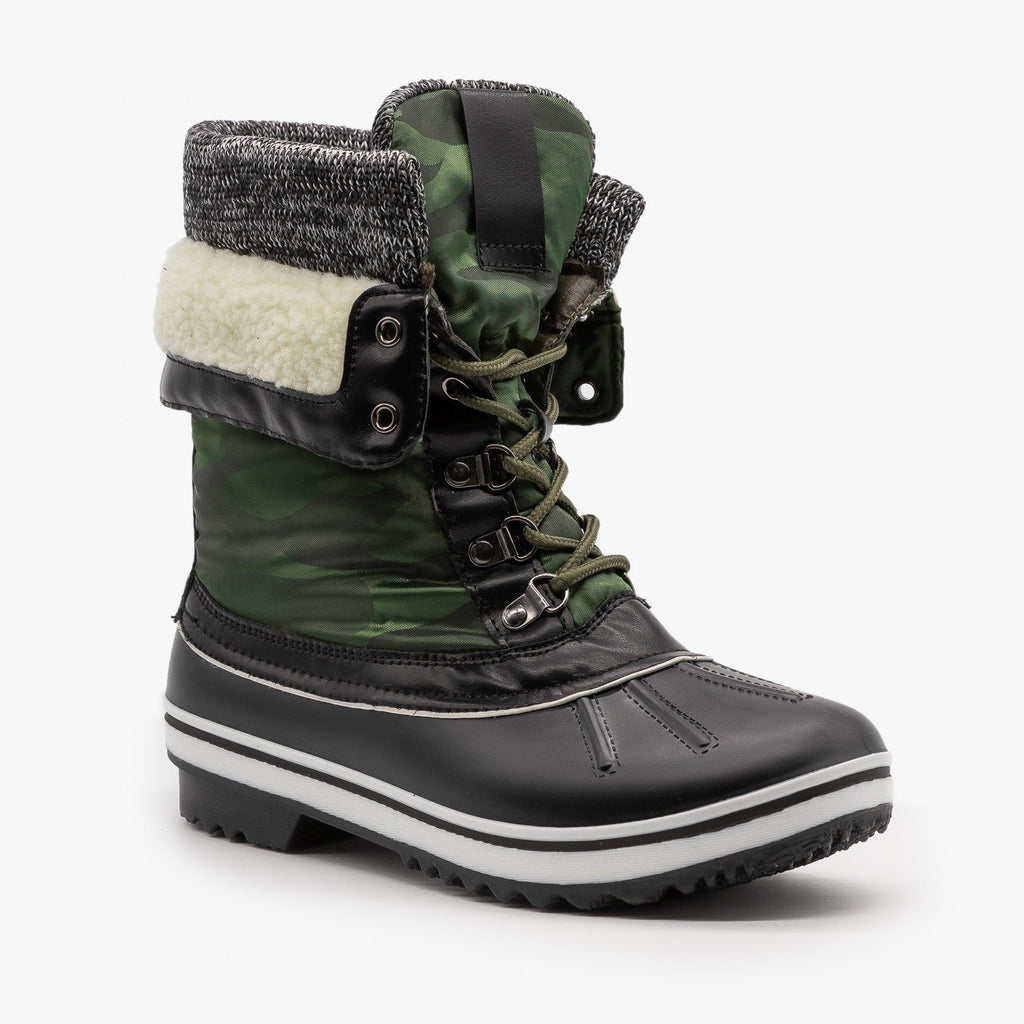 Womens Double Cuff Camouflage Duck Boots - Forever - Green Black / 5
