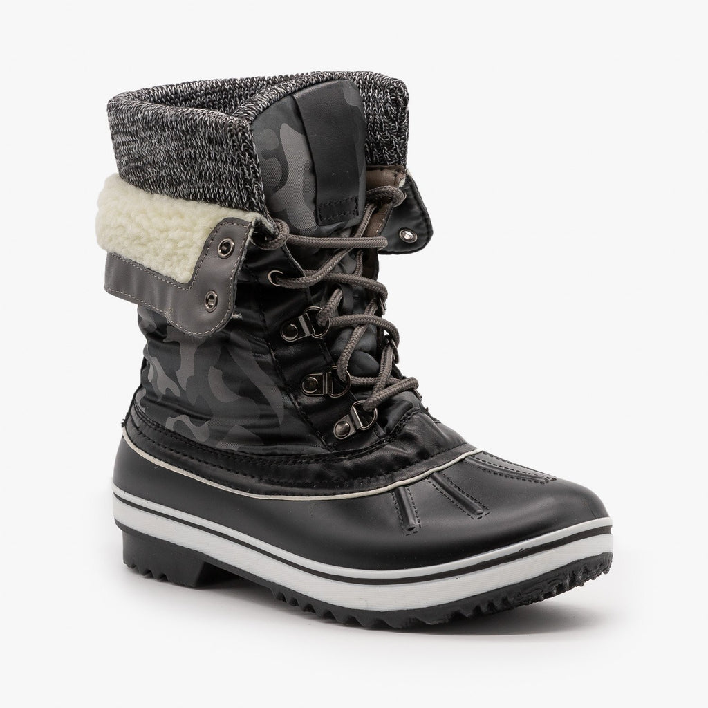 Womens Double Cuff Camouflage Duck Boots - Forever - Gray Black / 5