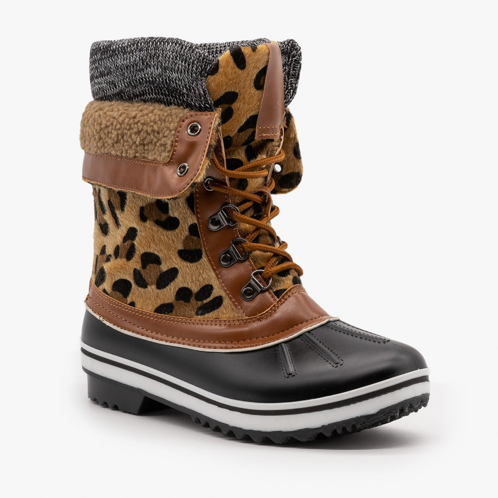 Womens Double Cuff Leopard Duck Boots - Forever - Leopard / 5