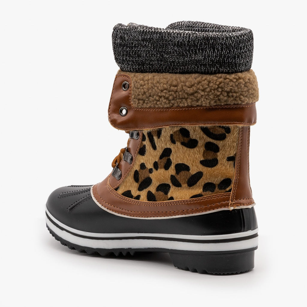 Womens Double Cuff Leopard Duck Boots - Forever