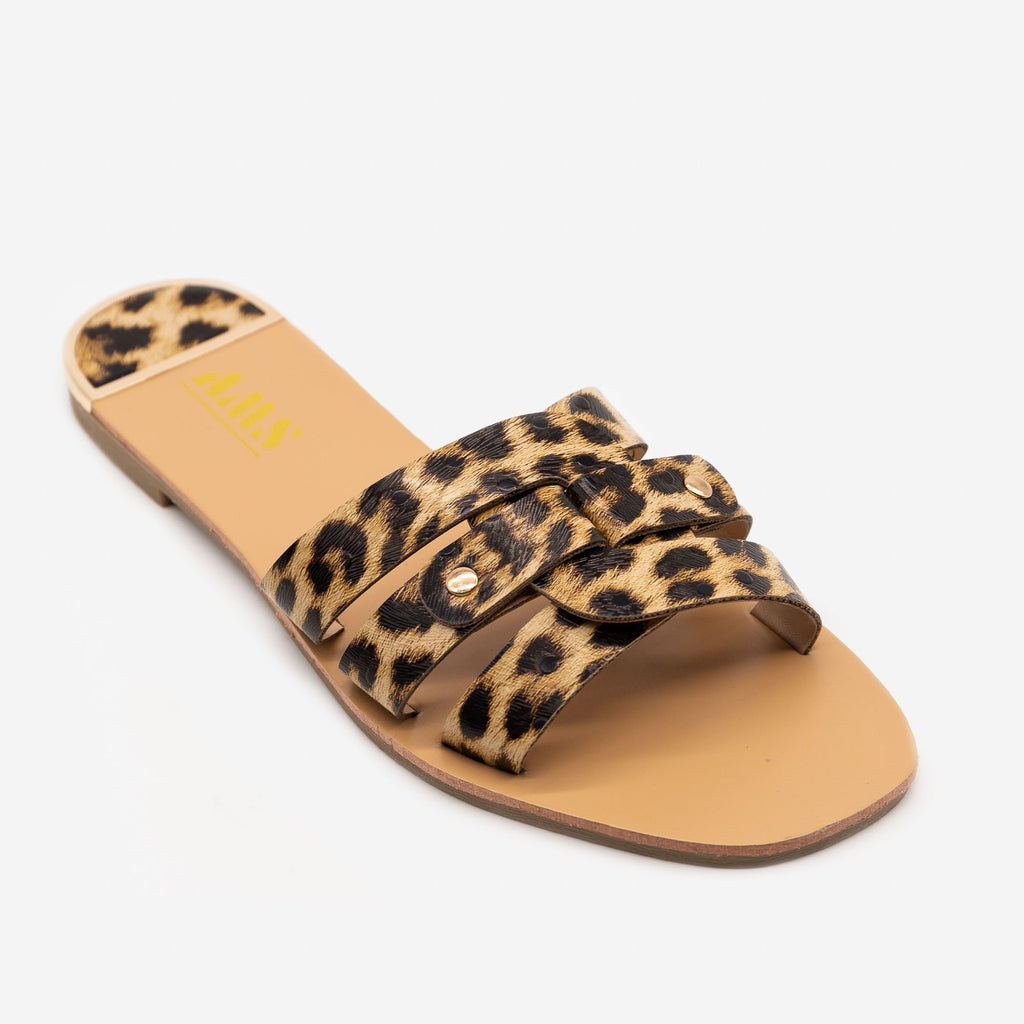 Double Looped Leopard Print Sandals