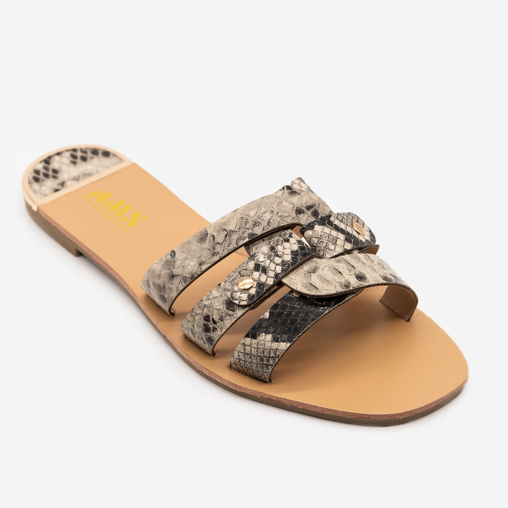 Women's Double Looped Snake Print Sandals - AMS Shoes - Snake / 5