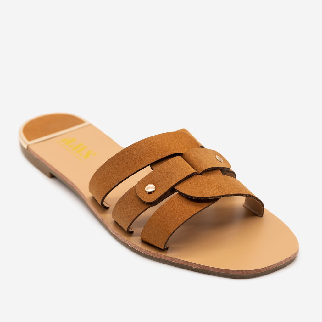 Women's Double Looped Square Toe Sandals - AMS Shoes - Tan / 5