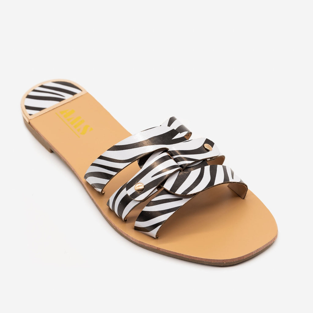 Women's Double Looped Zebra Print Sandals - AMS Shoes - Zebra / 5