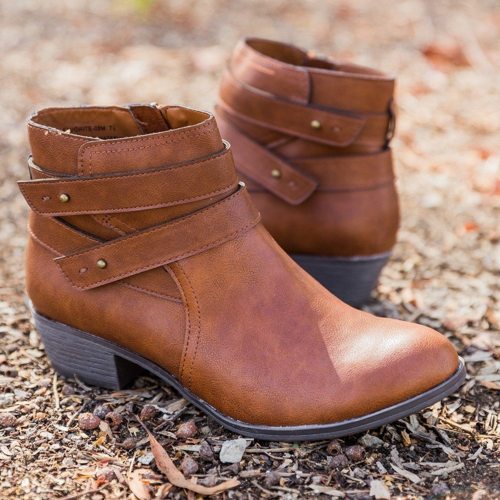 Womens Double Strap Ankle Booties - Bamboo Shoes - Chestnut / 5