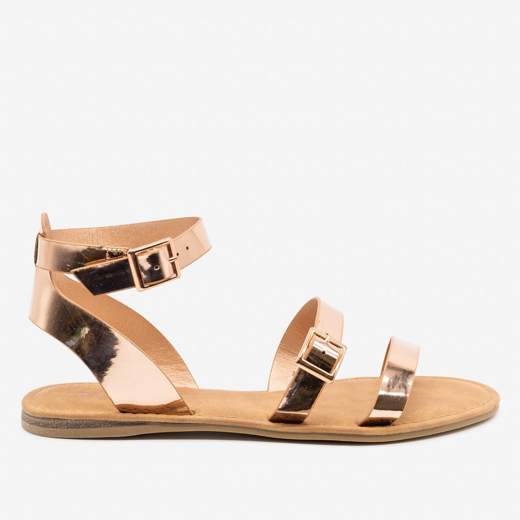 Women's Double Strap Buckle Sandals - Bamboo Shoes - Rose Gold / 5