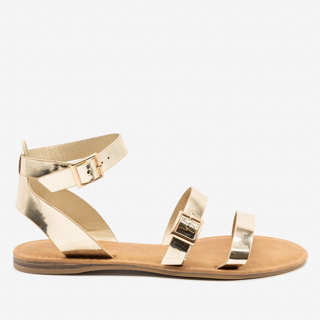 Women's Double Strap Buckle Sandals - Bamboo Shoes - Gold / 5