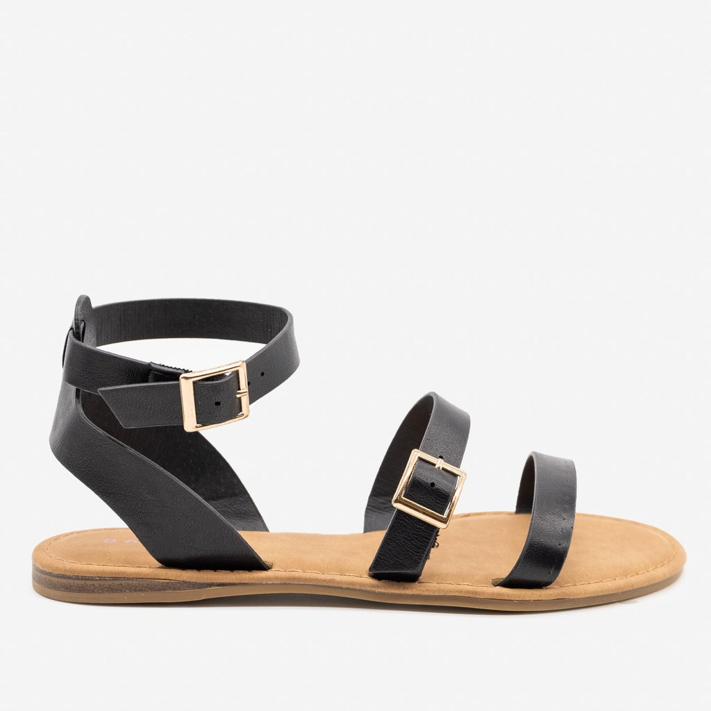 Women's Double Strap Buckle Sandals - Bamboo Shoes - Black / 5