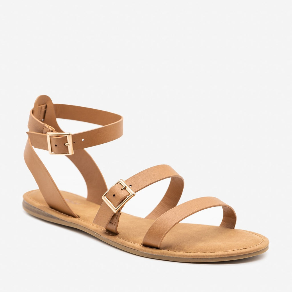 Women's Double Strap Buckle Sandals - Bamboo Shoes