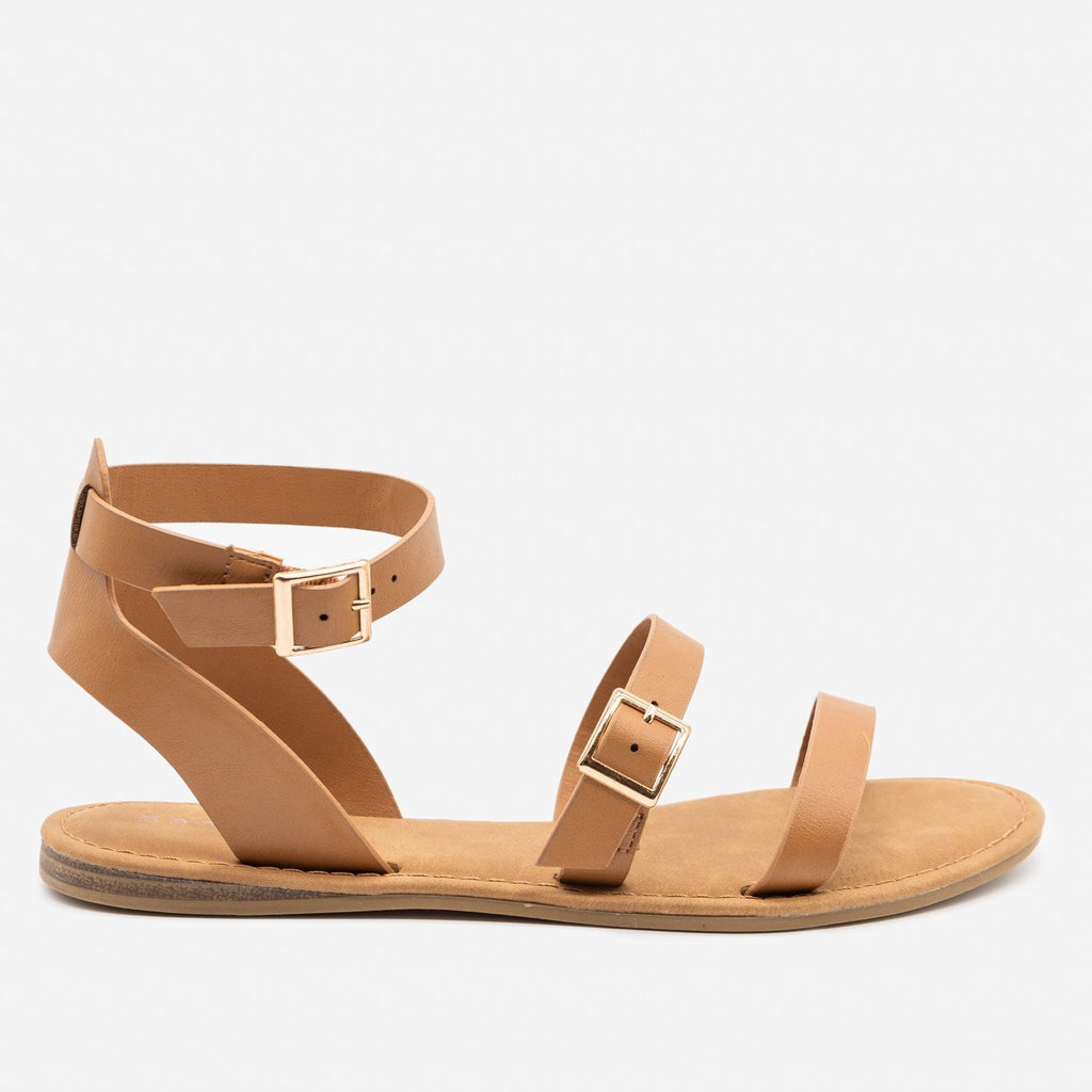 Women's Double Strap Buckle Sandals - Bamboo Shoes - Tan / 5