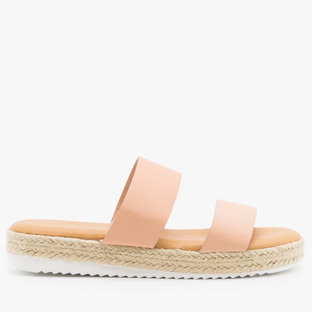 Womens Double Strap Espadrille Flatform Slides - Bamboo Shoes - Blush / 5