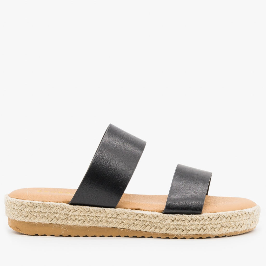 Womens Double Strap Espadrille Flatform Slides - Bamboo Shoes - Black / 5