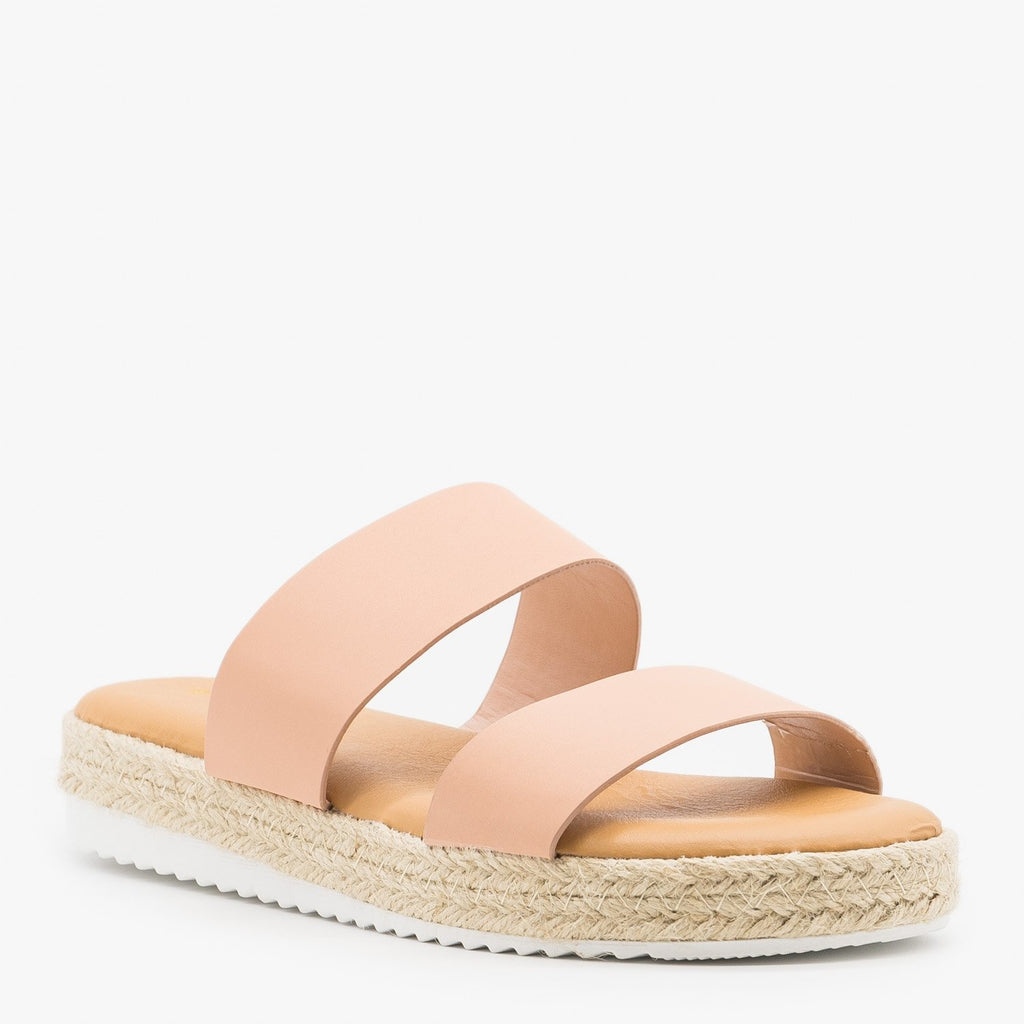 Womens Double Strap Espadrille Flatform Slides - Bamboo Shoes