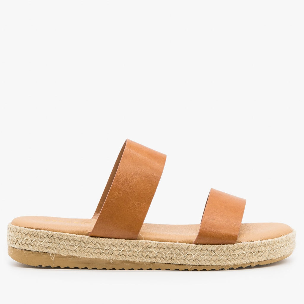 Womens Double Strap Espadrille Flatform Slides - Bamboo Shoes - Tan / 5
