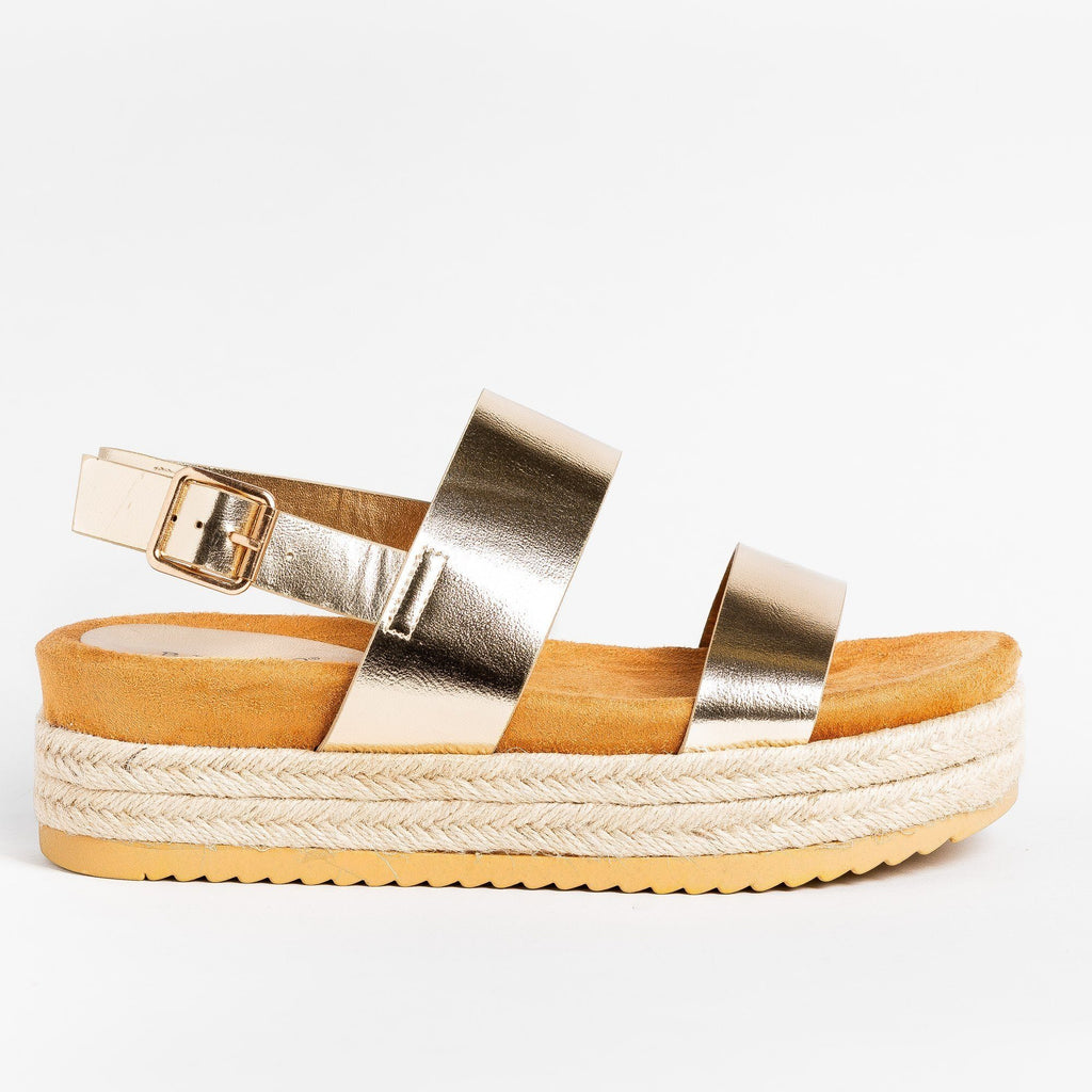 Womens Double Strap Flatform Sandals - Bamboo Shoes - Gold / 5